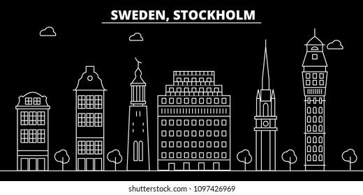 Stockholm silhouette skyline. Sweden - Stockholm vector city, swedish linear architecture, buildings. Stockholm travel illustration, outline landmarks. Sweden flat icon, swedish line banner