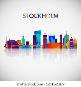 Stockholm skyline silhouette in colorful geometric style. Symbol for your design. Vector illustration.