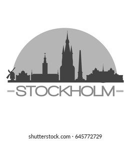Stockholm Skyline Silhouette Skyline Stamp Vector City Design