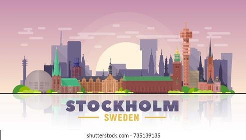 Stockholm skyline. Sweden. Vector illustration. Image for presentation, banner, web site.