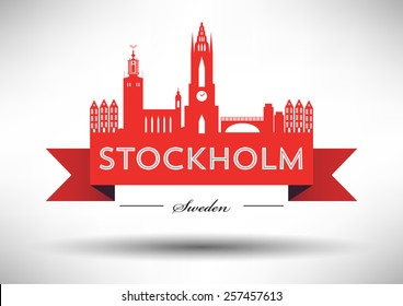 Stockholm Skyline with Typographic Design