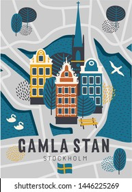 Stockholm Sweden cartoon set of scandinavian old town district buildings - gamla stan (translation: old town) with birds, trees. Cute design for souvenirs, cards, posters. Stockholm, Sweden lettering