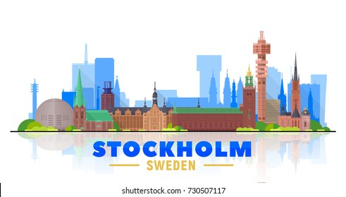 Stockholm ( Sweden ) skyline with panorama in white background. Vector Illustration. Business travel and tourism concept with modern buildings. Image for presentation, banner, web site.