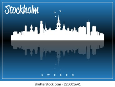 Stockholm, Sweden skyline silhouette vector design on parliament blue and black background.