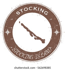 Stocking Island circular patriotic badge. Grunge rubber stamp with island flag, map and the Stocking Island written along circle border, vector illustration.