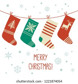 Stockings Christmas background. Assortment of four Christmas stockings. Christmas card. Cartoon vector hand drawn eps 10 illustration isolated on white background in a flat style