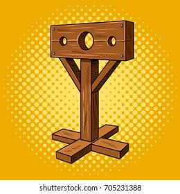 Stocks medieval instrument of torture pop art style. Punishment pillar. Hand drawn comic book imitation vector illustration