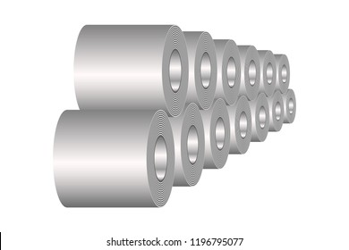 Stocks of rolled steel coil, steel, strap storage in factory warehouse, Metal iron sheet industrial. Isolated vector