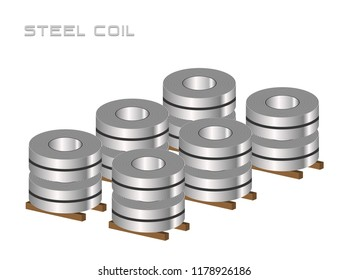 Stocks of slitting rolled steel coil, steel, strap storage in factory warehouse, Metal iron sheet industrial. Isolated vector