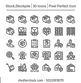 stock,stockpile line icon set
