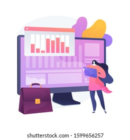 Stocktaking process. Financial operation. Tax reporting, managementt software, enterprise program. Woman doing bookkeeping and auditing cartoon character. Vector isolated concept metaphor illustration