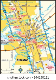 Stockton, California area map