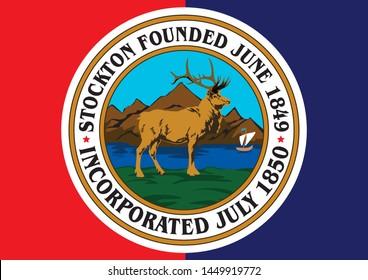 Stockton California flag vector illustration