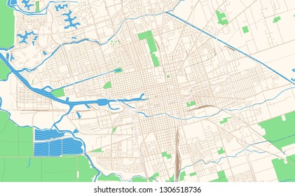 Stockton California printable map excerpt. This vector streetmap of downtown Stockton is made for infographic and print projects.