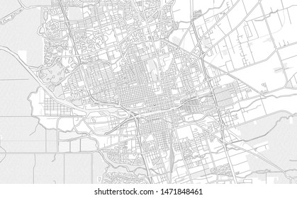 Stockton, California, USA, bright outlined vector map with bigger and minor roads and steets created for infographic backgrounds.