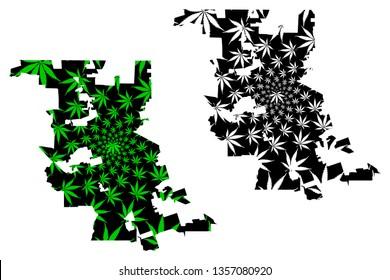 Stockton city (United States of America, USA, U.S., US, United States cities, usa city)- map is designed cannabis leaf green, City of Stockton map made of marijuana (marihuana,THC) foliage,