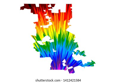 Stockton city (United States of America, USA, U.S., US, United States cities, usa city)- map is designed rainbow abstract colorful pattern, City of Stockton map made of color explosion,