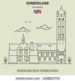 Stockton Road United Reformed Church in Sunderland, UK. Landmark icon in linear style