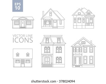 stock-vector-illustration-line-drawings-of-private-homes