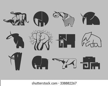 stock-vector-illustration-set-of-elephant-icons