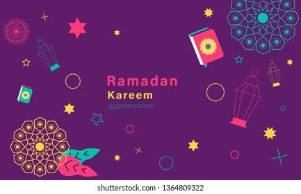 Stok vector ramadan kareem concept horizontal banner with element flat