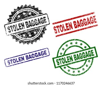 STOLEN BAGGAGE seal prints with corroded texture. Black, green,red,blue vector rubber prints of STOLEN BAGGAGE label with corroded texture. Rubber seals with round, rectangle, medal shapes.