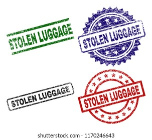 STOLEN LUGGAGE seal prints with corroded texture. Black, green,red,blue vector rubber prints of STOLEN LUGGAGE tag with unclean texture. Rubber seals with round, rectangle, rosette shapes.