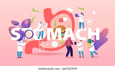 Stomach Abdominal Pain Concept. Gastrointestinal Indigestion Symptom, Helicobacter, Diarrhea or Constipation Disease and Illness. Medicine Poster Banner Flyer. Cartoon Flat Vector Illustration