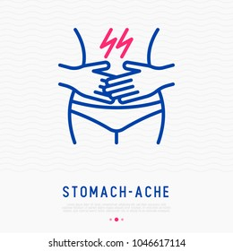 Stomach ache thin line icon. Modern vector illustration of menstrual pain, poisoning or diarrhea.