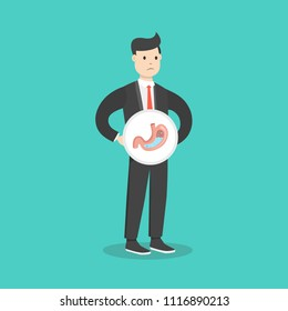 Stomach acid reflux. Healthcare. Digestion. Disease, stomachache. Vector illustration.