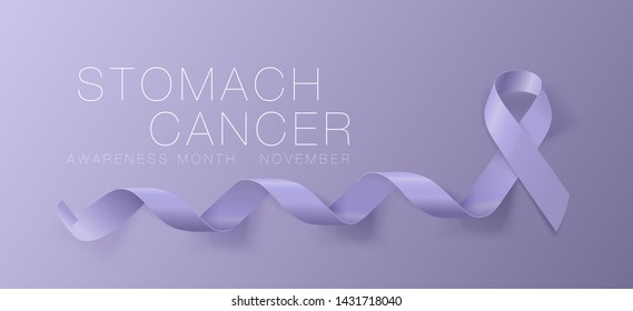 Stomach Cancer Awareness Calligraphy Poster Design. Realistic Periwinkle Ribbon. November is Cancer Awareness Month. Vector Illustration