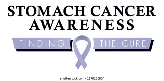 Stomach Cancer Awareness Symbol, Awareness Ribbon, Finding the Cure for Stomach Cancer, Lavender Ribbon, Positive Phrases and Encouragement for Patients, Inspirational Logo and Health Education