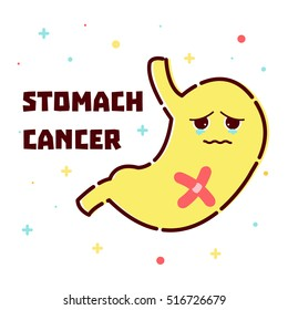 Stomach cancer disease awareness poster with sad cartoon character on white background. Abdominal tumor. Human body organs anatomy icon. Medical concept. Vector illustration.