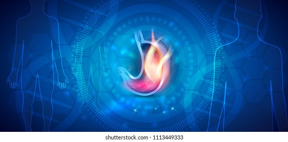 Stomach disorder abstract design, fire inside of the stomach, human silhouette