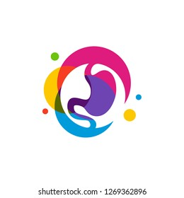 Stomach logo design concept, Stomach with Colorful logo design Template Vector - Vector illustration
