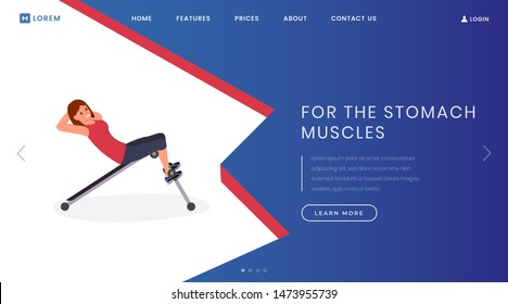 Stomach muscle exercises landing page template. Fitness club, bodybuilding website homepage interface idea with flat vector illustrations. Abdominal press training web banner, webpage cartoon concept