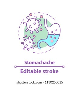 Stomachache concept icon. Indigestion idea thin line illustration. Stomach upset. Gastroenterology. Vector isolated outline drawing. Editable stroke