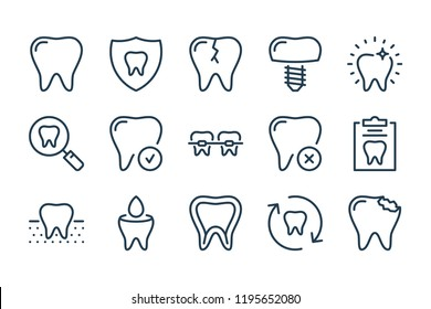 Stomatology and dental line icons. Tooth and oral health vector linear icon set.