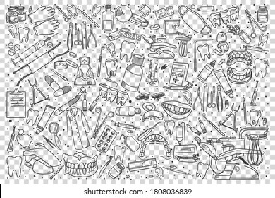Stomatology doodle set. Collection of hand drawn sketches templates patterns of stomatological equipment dental instruments medical tools on transparent background. Teeth health care illustration.