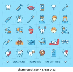 Stomatology icon Dental care logo. Children dentistry thin line art icons. Symbols teeth, dentist, smile, caries, implant, office. Vector outline elements