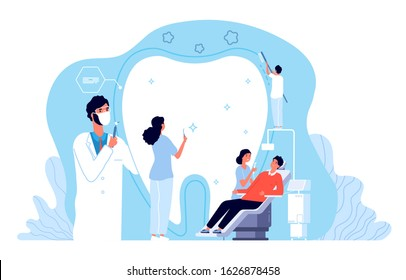 Stomatology. Orthodontics clinic, dental hygiene or dentist office. Private medicine dentistry services. Doctors and patient vector concept