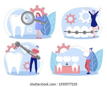 Stomatology, orthodontics, dental care concept. flat vector illustration