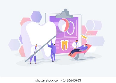 Stomatology and orthodontics medical center, teeth treatment. Dentist appointment. Private dentistry, dental service, private dental clinic concept. Vector isolated concept creative illustration