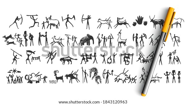 Stone age doodle set. Collection of pencil pen ink hand drawn sketches templates patterns of prehistoric men women hunting cooking and gathering. Cavemen rock painting illustration