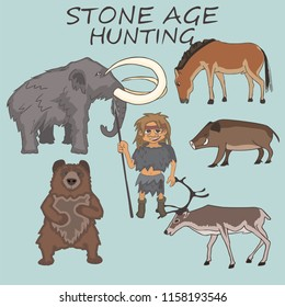 stone age hunter with prey examples,  cartoon vector illustration of prehistoric human lifestyle