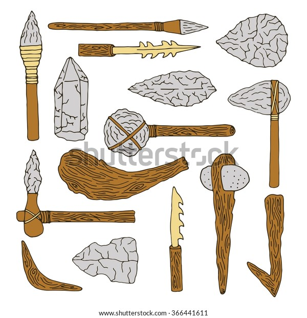 Stone age isolated  tools set. Weapon caveman