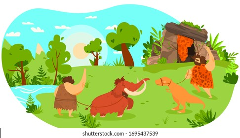 Stone age people with pet animal, mammoth and dinosaur on leash, funny vector illustration. Prehistoric man lifestyle, primitive human cartoon character. Comic savage barbarian as friendly neighbor