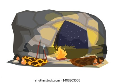 Stone age people sleeping in cave flat vector illustration. Indoor grot bonfire. Primitive men in animal fur cartoon characters. Cavemen house interior drawing. Ancient time hunting tools, equipment