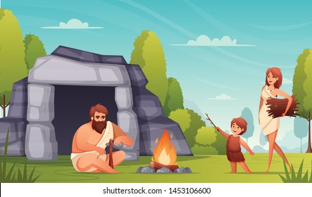 Stone age prehistoric people life flat composition with caveman family making tools keeping fire burning vector illustration