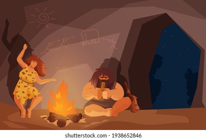 Stone age primitive family people sit by fire vector illustration. Cartoon primeval caveman character playing ancient musical instrument, neanderthal woman dancing near bonfire in cave background